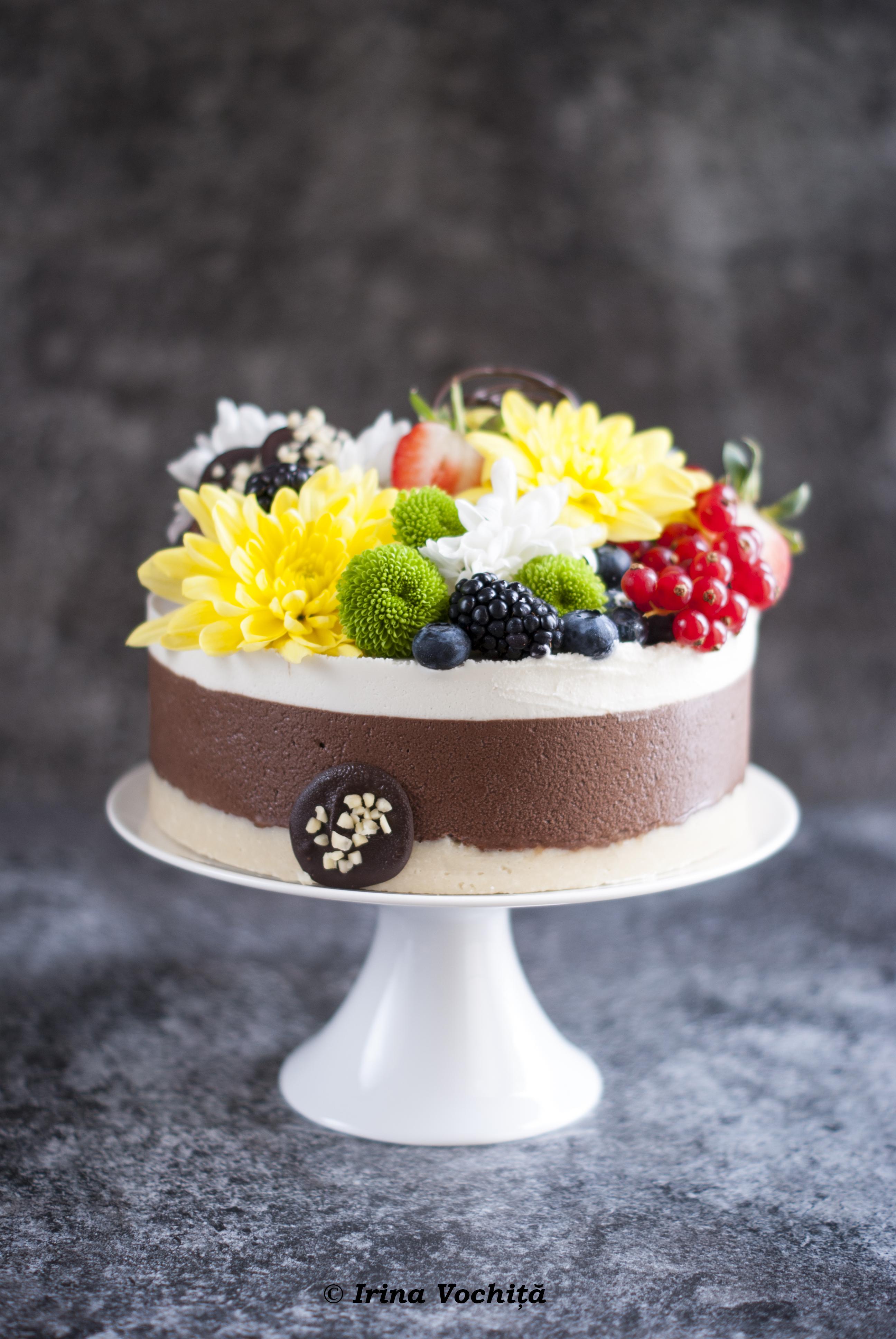 tort raw vegan cu ciocolata si nuci macadamia